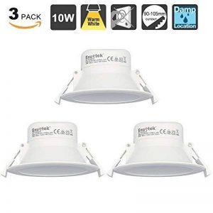 10W LED Encastrable Plafond Luminaire Plafonnier Encastrable LED Downlight Salle de Bain et Cuisine Blanc Chaud 3000K 220V IP44 Trou de Plafond Φ90-105MM Lot de 3 de Enuotek de la marque ENUOTEK image 0 produit
