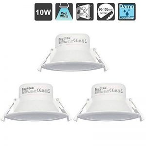10W LED Encastrable Plafond Luminaire Plafonnier Encastrable LED Downlight Salle de Bain et Cuisine Blanc Froid 5000K 220V IP44 Trou de Plafond Φ90-105MM Lot de 3 de Enuotek de la marque ENUOTEK image 0 produit