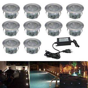 10x Lampe de Spot LED pour Terrasse Enterré Plafonnier, IP67 Acier inoxydable DC 12V 1W Eclairage Encastré Exterieur pour Chemin Contremarches d'escalier Piscine, Blanc Froid de la marque 7Colors image 0 produit