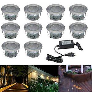 10x Spot LED Eclairage extérieur Encastrable Sol Terrasse Bois, IP67 DC12V 1W Avec Alimentation EU - Décor Pour Jardin Chemin Escalier Patio, Blanc Chaud de la marque 7Colors image 0 produit