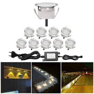 10x Spots LED Encastrable Extérieur IP67 Acier inoxydable - Spots à Encastrer pour Terrasse Bois Plafond 0,6W DC12V lumière Blanc Chaud étanche Kit Mini Spot LED Lampe Extérieur pour Chemin Contremarches d'escalier Piscine de la marque QACA image 0 produit