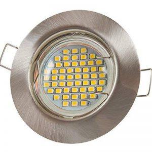 '12X LU de mi® Spot LED GU103W SMD Blanc chaud 230Ven acier inoxydable brossé/rond (sd863) Cadre de montage avec douille GU10 de la marque Lumi image 0 produit