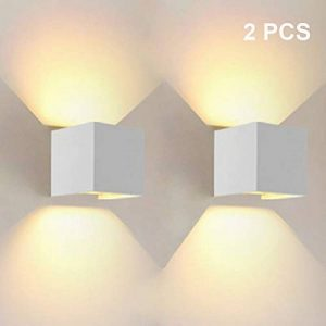 12W LED Applique Murale AFSEMOS, IP65 Anti-Eau Extérieur / Interieur Up and Down Lampe murale 1080LM 3000K Blanc Chaud,Angle de Faisceau Réglable pour Maison,Couloir Salon,Chambre à Coucher (Blanc) Jardin,2 PCS de la marque AFSEMOS image 0 produit