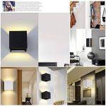 12W Led Applique murale chambre Moderne Exterieur/Interieur, Aluminium luminaires Réglable Lampe Up and Down Design Anti-Eau Blanc Chaud pour Chambre Maison Couloir Salon (Noir) de la marque Tvgo image 4 produit