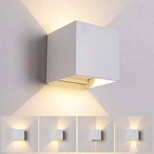 12W Led Applique murale chambre Moderne Exterieur/Interieur, Aluminium luminaires Réglable Lampe Up and Down Design Anti-Eau Blanc Chaud pour Chambre Maison Couloir Salon (Blanc) de la marque Tvgo image 0 produit