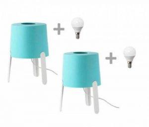 2Lampes de Table IKEA tvars, couleur turquoise, avec ampoules lED incluses de la marque IK image 0 produit