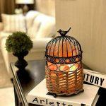 3-5 kg lampe de sel de l'Himalaya lampe de chevet, lampe de table de table en cristal avec cage à oiseau Vintage Sisal panier de lanterne tissée lanterne tactile et 1 ensemble de bougeoir de sel, lot de 2 ampoules de la marque MaymiiHome image 4 produit