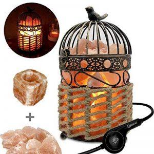 3-5 kg lampe de sel de l'Himalaya lampe de chevet, lampe de table de table en cristal avec cage à oiseau Vintage Sisal panier de lanterne tissée lanterne tactile et 1 ensemble de bougeoir de sel, lot de 2 ampoules de la marque MaymiiHome image 0 produit