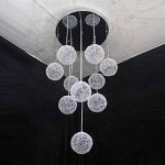 35,6cm Câble en aluminium de 10lampes boules en verre Parlor plafond Pendentif lumière moderne Escalier Design Salon Cuisine Salle à manger Plafonnier de la marque OOVOV image 1 produit