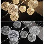 35,6cm Câble en aluminium de 10lampes boules en verre Parlor plafond Pendentif lumière moderne Escalier Design Salon Cuisine Salle à manger Plafonnier de la marque OOVOV image 4 produit