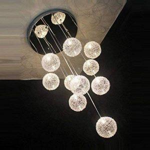 35,6cm Câble en aluminium de 10lampes boules en verre Parlor plafond Pendentif lumière moderne Escalier Design Salon Cuisine Salle à manger Plafonnier de la marque OOVOV image 0 produit