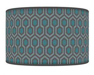 35cm–35,6cm fait à la main hexagonale géométrique Bleu sarcelle Gris Style giclée Tissu imprimé lampe Abat-jour tambour ou Suspension abat-jour 803 de la marque Ark House image 0 produit