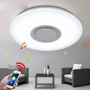 36W LED plafonnier lumière intégrée Bluetooth musique moderne plafonnier blanc rond acrylique plafonnier pour chambre à coucher salon salle à manger Ø40cm gradation 3000K-6000K de la marque image 0 produit