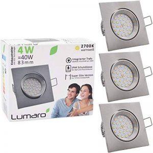 3x Lumare Slim Line LED spot encastrable IP44 angulaire/argent avec seulement une profondeur d'installation de 27 mm!   Spot de plafond 4W 400lm AC 230V de la marque Lumare image 0 produit