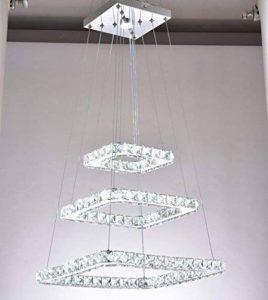 48W LED Moderne en cristal lustre plafonnier luminaire suspendu en acier inoxydable Chambre grandes Blanc chaud Blanc froid (Blanc froid) blanc chaud de la marque dixun image 0 produit