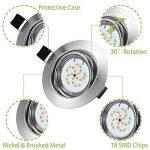5x LED Spots Encastrables Orientable GU10 Lampe de plafond Blanc Chaud 2800k Plafonnier Encastré 4W 400lm Equivalente de 35W Lampe 82RA 120°d'éclairage 220V Rond Métal Nickel Non Dimmable de la marque Gr4tec image 2 produit