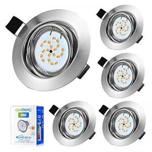 5x LED Spots Encastrables Orientable GU10 Lampe de plafond Blanc Chaud 2800k Plafonnier Encastré 4W 400lm Equivalente de 35W Lampe 82RA 120°d'éclairage 220V Rond Métal Nickel Non Dimmable de la marque Gr4tec image 0 produit