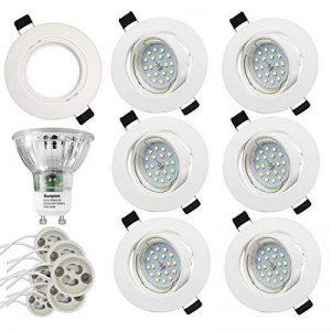 (6 Pack) Plafonnier LED,Sunpion 3000K 5W Spots LED Encastré,Lampe de Salon LED Nickel Mat Spot Plafonnier Led Salle de Bain Eclairage Led Plafond(6 Pack with Shell) de la marque Sunpion image 0 produit