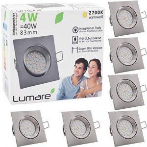 6x Lumare Slim Line LED spot encastrable IP44 angulaire/argent avec seulement une profondeur d'installation de 27 mm!   Spot de plafond 4W 400lm AC 230V de la marque Lumare image 0 produit