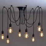 8 Branches E27 Douille Lustre Plafond Lampe 1,8 m câble, Rétro Suspensions Luminaire Plafond Lumière éclairage Plafonniers Lustres Luminaire Eclairage de plafond de la marque Maxsal image 3 produit
