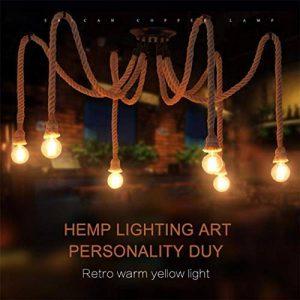 8 têtes rétro Chandelier industriel de corde de chanvre / salon lumières pendantes de restaurant / luminaire non inclus ampoule de la marque BLUE CHARM image 0 produit