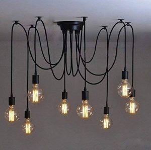 8Pcs E27 Douille Rétro Lustre Plafond Lampe Suspensions Luminaire Plafond Lumière éclairage Plafonniers Lustres Luminaire Eclairage de plafond avec 1.1m de la marque Chrasy image 0 produit