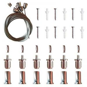 AAPLUS- 6X Universel Câbles Kit pour Montage en Suspension de Panneau Dalle LED 30x30/30x60/60x60/62x62/120x30cm(Acier inox + Cuivre + ABS) de la marque AAPLUS image 0 produit