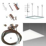AAPLUS- 6X Universel Câbles Kit pour Montage en Suspension de Panneau Dalle LED 30x30/30x60/60x60/62x62/120x30cm(Acier inox + Cuivre + ABS) de la marque AAPLUS image 1 produit