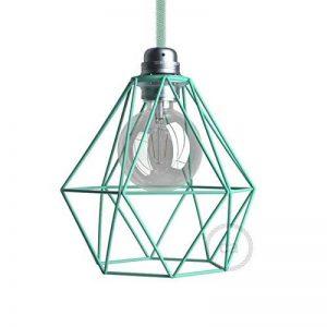 Abat-jour cage Diamond en métal couleur Turquoise culot E27 de la marque Creative-Cables image 0 produit