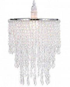 Abat-jour chandelier 3 niveaux pour plafond pendentif avec gouttelettes de bijoux en acrylique, abat-jour en billes avec contour de chrome et billes claires, diamètre 22 cm, claire de la marque WanEway image 0 produit