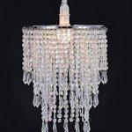 Abat-jour chandelier 3 niveaux pour plafond pendentif avec gouttelettes de bijoux en acrylique, abat-jour en billes avec contour de chrome et billes claires, diamètre 22 cm, claire de la marque WanEway image 1 produit