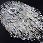 Abat-jour chandelier 3 niveaux pour plafond pendentif avec gouttelettes de bijoux en acrylique, abat-jour en billes avec contour de chrome et billes claires, diamètre 22 cm, claire de la marque WanEway image 3 produit