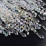 Abat-jour chandelier 3 niveaux pour plafond pendentif avec gouttelettes de bijoux en acrylique, abat-jour en billes avec contour de chrome et billes claires, diamètre 22 cm, claire de la marque WanEway image 4 produit