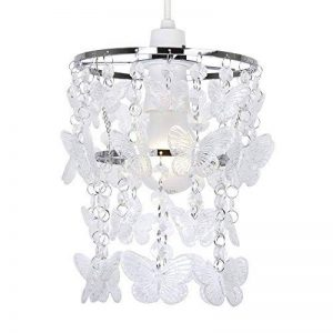 Abat-jour moderne, pour suspension de plafond, orné de papillons acryliques clairs en cascade à partir d'un cadre chromé de la marque MiniSun image 0 produit