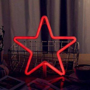 AIZESI Lampe Etoile lumineuse LED étoile rouge lumineuse chamber Lampe à Néon Nouveauté LED Lampe à Décor mural Lampe nuit Décoration Chambre Salon(Étoile rouge) de la marque AIZESI image 0 produit