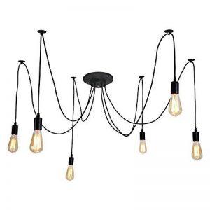 ALAMP Lustre à 6 Têtes Douilles E27 Lampe Suspension Style Industriel Luminaire DIY Edison Ampoule Vintage Antique Noir de la marque ALAMP image 0 produit