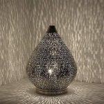 albena shop 71-6340 Fare lampe de table orientale H 37 cm / ø 28 cm métal argente de la marque albena shop image 1 produit