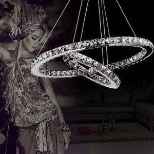 ALFRED® Cristal de luxe moderne a conduit pendentif avec deux anneau uniques, plafond moderne Luminaire,chambre, Salon de la marque Alfred image 0 produit