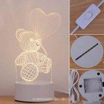 Alokie 3D Illusion Nuit Lumière LED Bureau Table Lampe Maison Chambre Bureau Décor pour Enfants d'anniversaire De Noël Cadeau de la marque Alokie image 2 produit