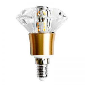 Ampoule LED E14 SES de Qualité Supérieure, à Pure et Solide Petite Vis type Edison K9 et à Verre Cristal, 5W (50W), Blanc Chaud – Diamant de la marque YAYZA! image 0 produit