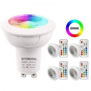 Ampoule LED GU10 Blanc Froid 3W Dimmable Couleur Changement RVB LED Spot Bulb, 12 Couleurs avec Télécommande, AC 85V - 265V, pour Applique, Rail Track, Plafonnier Encastré (paquet de 4) de la marque HYDONG image 0 produit