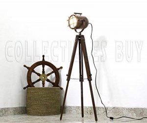 Antique Cuivre Marin Navire Projecteur Nautique En bois Trépied Cru Sol Les lampes de la marque Collectibles acheter image 0 produit