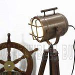 Antique Cuivre Marin Navire Projecteur Nautique En bois Trépied Cru Sol Les lampes de la marque Collectibles acheter image 3 produit