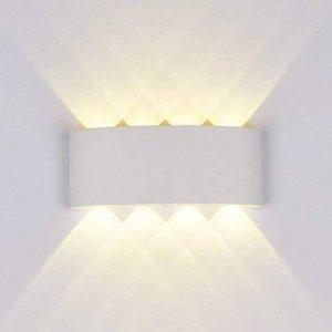 Applique Led Murale,8W Moderne LED Lampe Murale Interieur / Exterieur luminaire en aluminium IP65 Imperméable Design 3000K Blanc Chaud pour Chambre Maison Couloir Salon (Blanc) de la marque exwant image 0 produit