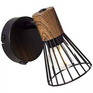 Applique murale avec interrupteur et 1 ampoule E14 max. 18 W, métal/bois, bois foncé et noir mat. de la marque Lightbox image 0 produit