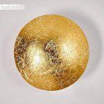 Applique murale Mezia feuille doré en métal de couleur or - Luminaire rond pour cuisine - salle à manger - séjour - salon - chambre à coucher de la marque HOFSTEIN image 4 produit