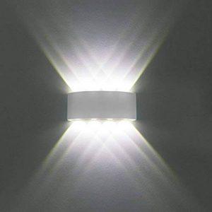 Applique Murale Moderne IP65 Imperméable à l'eau 8W LED Appliques Murales luminaire en aluminium vers le bas Down Lampe Murale Interieur de lumière de nuit pour le salon chambre Hall Escalier Pathway (Lumière blanche froide, coquille blanche) de la marque image 0 produit