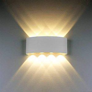 Applique Murale Moderne IP65 Imperméable à l'eau 8W LED Appliques Murales luminaire en aluminium vers le bas Down Lampe Murale Interieur de lumière de nuit pour le salon chambre Hall Escalier Pathway (Lumière blanche chaude, coquille blanche) de la marque image 0 produit