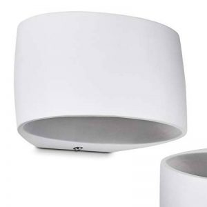 Applique murale moderne Rho en céramique blanche - lampe de chambre semi-circulaire à peindre - douille G9 compatible LED - jeu de lumière de la marque hofstein image 0 produit