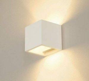 Applique murale, style moderne, en plâtre céramique peignable, en forme de cube, lumière vers le haut et le bas, douille G9, lumière tamisée - Idéale pour murs en plaques de plâtre - 100% fabriquée en Italie de la marque LED TECNOLOGY image 0 produit